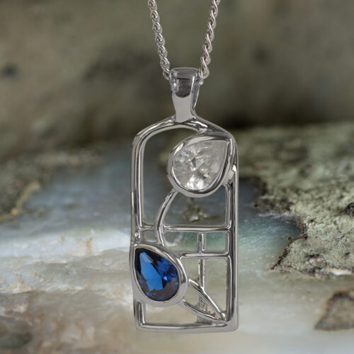 "Sterling Silver Charles Rennie Mackintosh Necklace Sapphire & Cz. Tarnish Resistant ""Saltire"" Cairn 604"