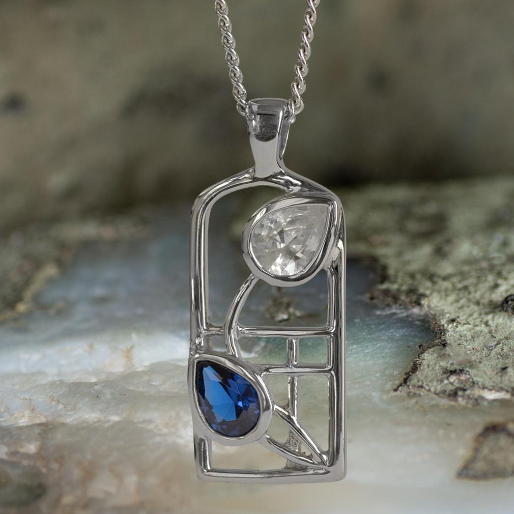 "Sterling Silver Charles Rennie Mackintosh Necklace Sapphire & Cz. Tarnish Resistant ""Saltire"" Cairn 604"