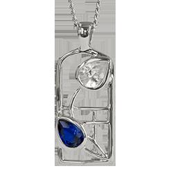 Royal blue sapphire & cubic zirconia silver necklace. Charles Rennie Mackintosh. Cairn pendant 604 Saltire