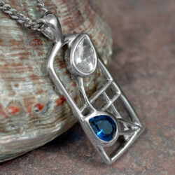 "Cairn 604 Silver Rennie Mackintosh Necklace - Sapphire & Cubic Zirconia. Tarnish Resistant ""Saltire"" British Made. Rennie Mackintosh Jewellery."