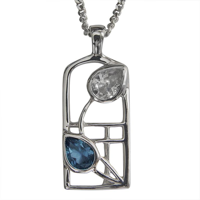 "Charles Rennie Mackintosh Necklace ""Saltire"" Sapphire & Cz. Sterling Silver. Tarnish Resistant. Cairn 604"