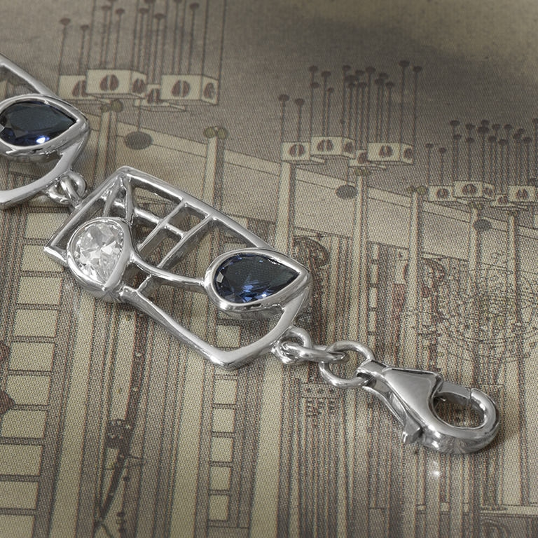 "Cairn 604b Charles Rennie Mackintosh Bracelet ""Saltire"". Royal Blue Sapphire & White Czs. Sterling Silver. Tarnish Resistant."