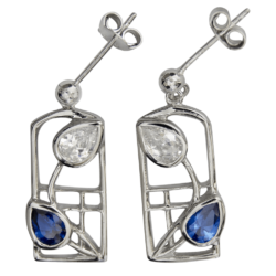Royal blue sapphires & cubic zirconias silver earrings Saltire. 605 Cairn