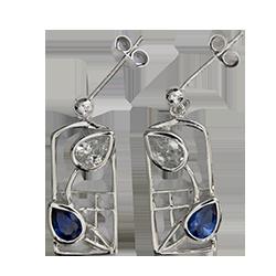Charles Rennie Mackintosh earrings Saltire. Sterling silver. Royal blue sapphires & cubic zirconias. Cairn CG 605