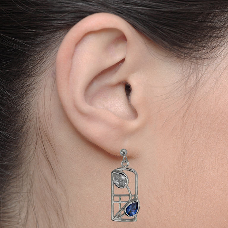 "Charles Rennie Mackintosh Earrings ""Saltire"" Royal Blue Sapphires & Czs. Sterling Silver. Tarnish Resistant. Cairn 605"
