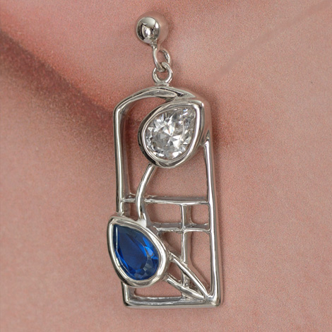 "Cairn 605 Silver Rennie Mackintosh Earrings - ""Saltire"" Royal Blue Sapphires & CZs. Tarnish Resistant. British Made. Rennie Mackintosh Jewellery."