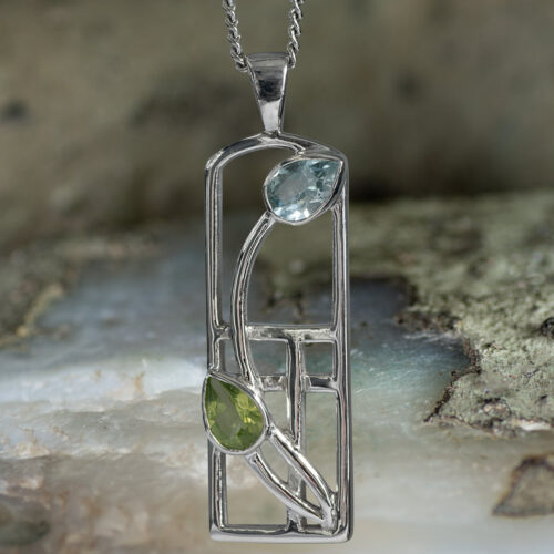 "Long Sterling Silver Charles Rennie Mackintosh Necklace ""Skyelawn"" Peridot & Blue Topaz. Tarnish Resistant. Cairn 606"