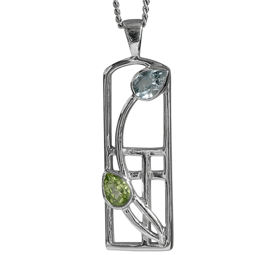 Peridot & blue topaz silver necklace. Charles Rennie Mackintosh. Cairn pendant 606 Skyelawn