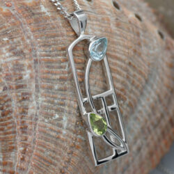 Cairn 606 Long Silver Rennie Mackintosh Necklace - Peridot & Blue Topaz. Tarnish Resistant. British Made. Rennie Mackintosh Jewellery.