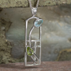 Cairn 606 Long Silver Rennie Mackintosh Necklace - Peridot & Blue Topaz 6