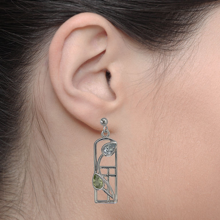 "Charles Rennie Mackintosh Earrings ""Skyelawn"" Peridot & Blue Topaz. Sterling Silver. Tarnish Resistant. Cairn 607"