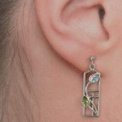 Cairn 607 Silver Rennie Mackintosh Earrings - Peridot & Blue Topaz. Tarnish Resistant. British Made. Rennie Mackintosh Jewellery.