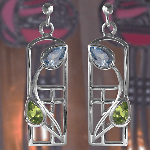 Charles Rennie Mackintosh Silver Earrings - Peridot & Blue Topaz | 607 |