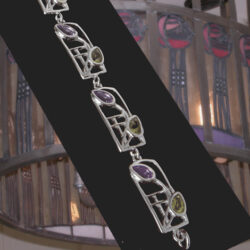 "Cairn 609b Silver Rennie Mackintosh Bracelet - ""Thistle"". Peridots & Amethysts. Tarnish Resistant. British Made. Rennie Mackintosh Jewellery."