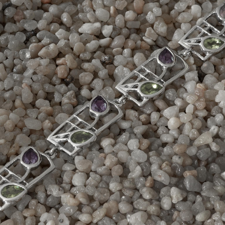 "Charles Rennie Mackintosh Bracelet ""Thistle"" Peridots & Amethysts. Sterling Silver. Tarnish Resistant. Cairn 609b"