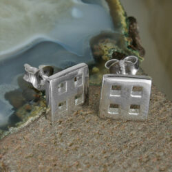 Cairn 620 Silver Rennie Mackintosh Stud Earrings - Tarnish Resistant Classic Squares Design. British Made. Rennie Mackintosh Jewellery.