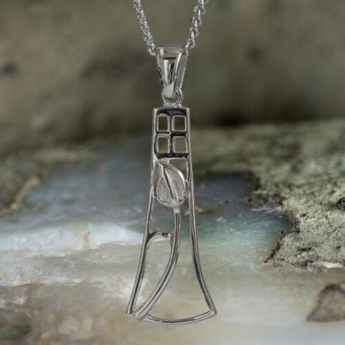 "Delicate Sterling Silver Charles Rennie Mackintosh Pendant ""Frances"". Tarnish Resistant. Cairn 630"