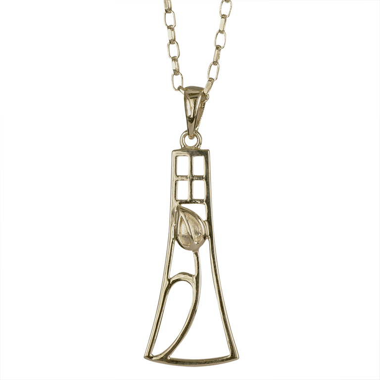 "Delicate Charles Rennie Mackintosh Necklace ""Frances"". 9ct Gold. Cairn 630G"