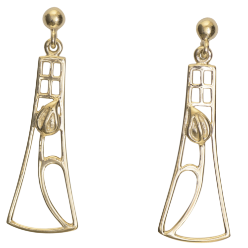 "Cairn 632G 9ct Gold Charles Rennie Mackintosh Earrings ""Frances"". British Made."