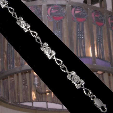 Cairn 681 Silver Rennie Mackintosh Bracelet - Tarnish Resistant. British Made. Rennie Mackintosh Jewellery.