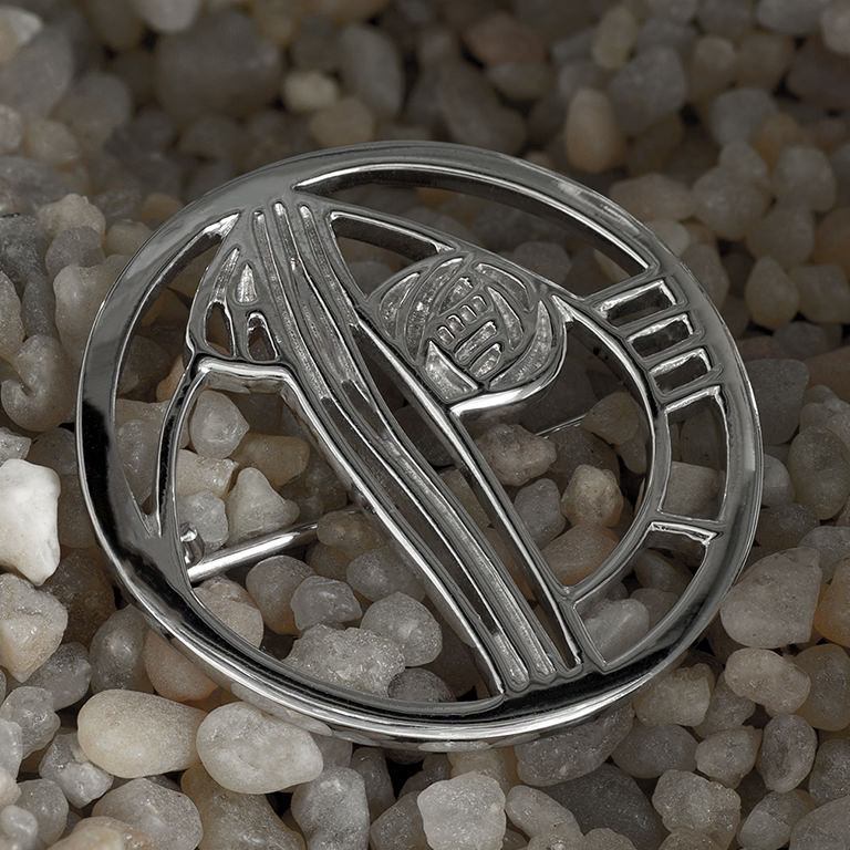 "Charles Rennie Mackintosh Brooch ""Studio Roundel"". Sterling Silver. Tarnish Resistant. Cairn 710"