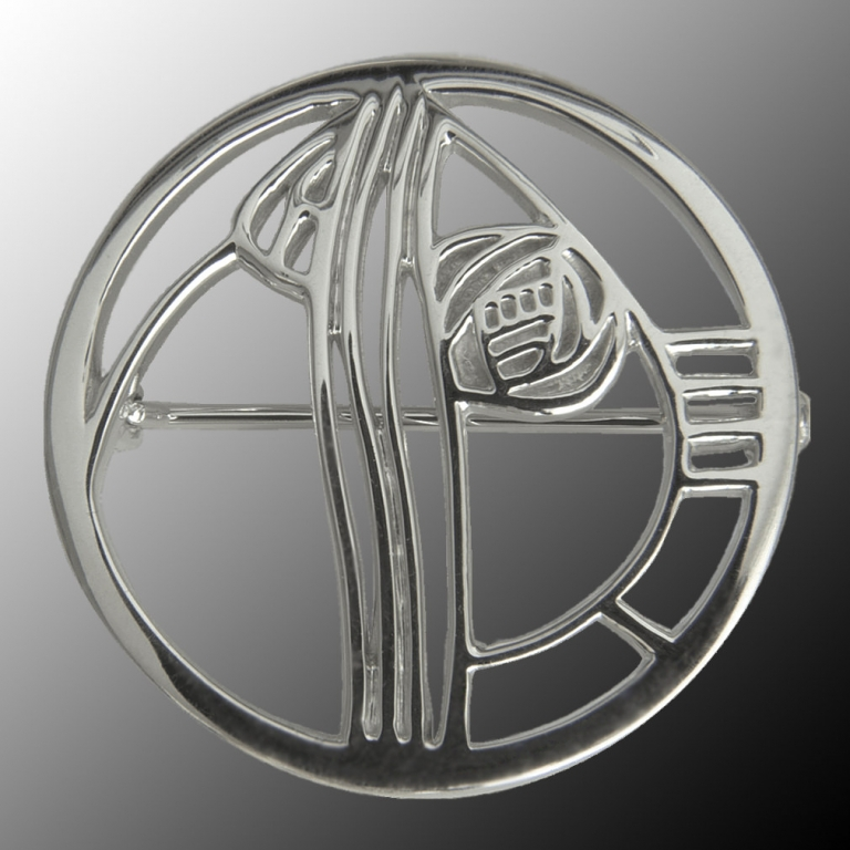 "Silver Charles Rennie Mackintosh Brooch ""Studio Roundel"" Cairn 710"