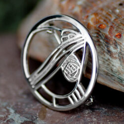 "Cairn 710 Silver Rennie Mackintosh Brooch - ""Studio Roundel"". Tarnish Resistant. British Made. Rennie Mackintosh Jewellery."