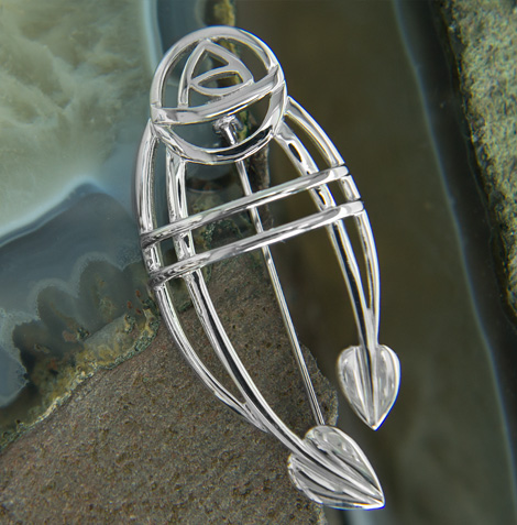 "Cairn 711 Silver Rennie Mackintosh Brooch - ""Ruchill"". Tarnish Resistant. British Made. Rennie Mackintosh Jewellery."