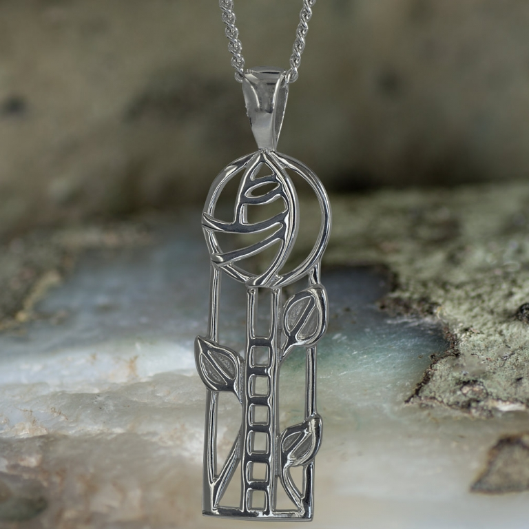 "Sterling Silver Charles Rennie Mackintosh Pendant ""Windyhill"". Tarnish Resistant. Cairn 732"