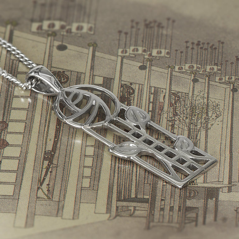 """Charles Rennie Mackintosh Necklace """"Windyhill"""". Sterling Silver. Tarnish Resistant. Cairn 732"""