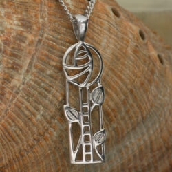 "Cairn 732 Silver Rennie Mackintosh Pendant - ""Windyhill"". Tarnish Resistant. British Made. Rennie Mackintosh Jewellery."