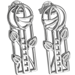 Charles Rennie Mackintosh silver earrings Windyhill. Cairn 734