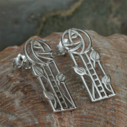 "Cairn 734 Silver Rennie Mackintosh ""Windyhill"" Earrings - Tarnish Resistant. British Made. Rennie Mackintosh Jewellery."