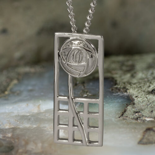 "Sterling Silver Charles Rennie Mackintosh Pendant ""Margaret"". Tarnish Resistant. Cairn 740"