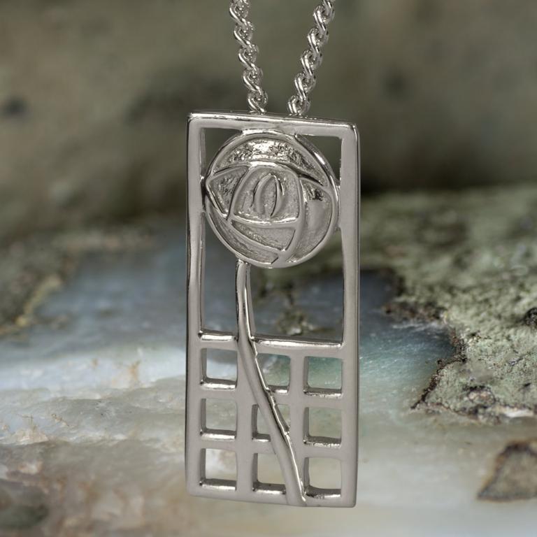 "Sterling Silver Charles Rennie Mackintosh Pendant ""Margaret"". Tarnish Resistant. Cairn 740"