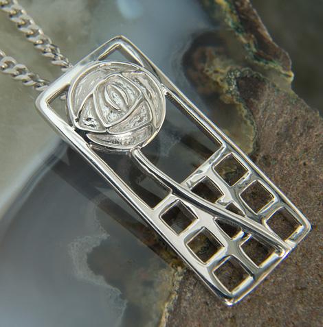 """Cairn 740 Silver Rennie Mackintosh Pendant - """"Margaret"""". Tarnish Resistant. British Made. Rennie Mackintosh Jewellery."""