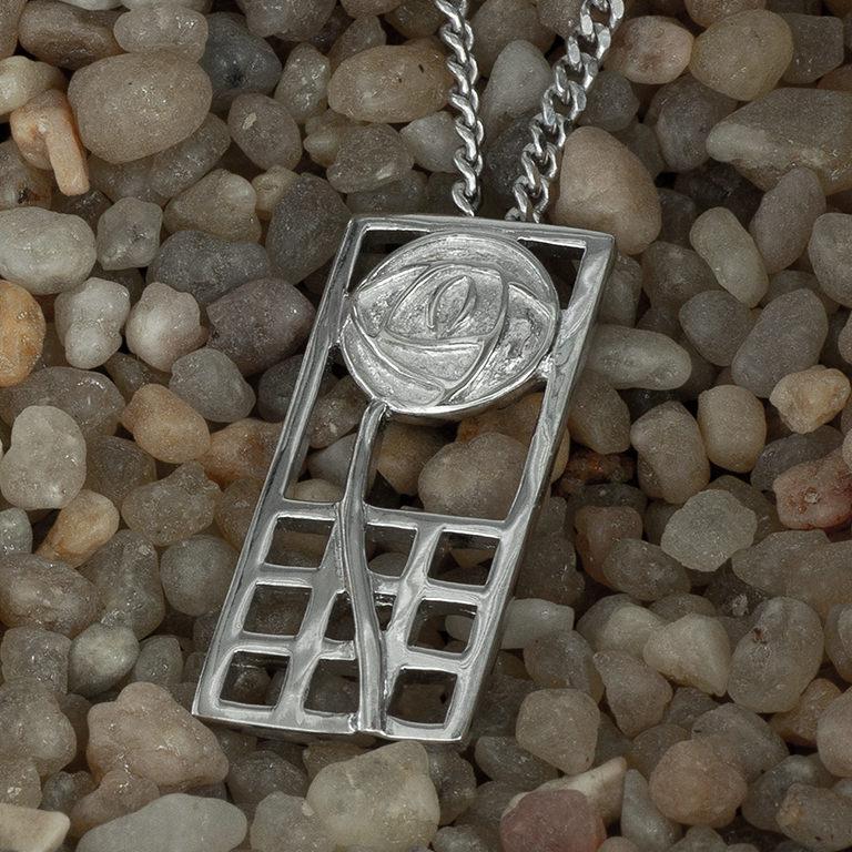 "Charles Rennie Mackintosh Necklace ""Margaret"". Sterling Silver. Tarnish Resistant. Cairn 740"