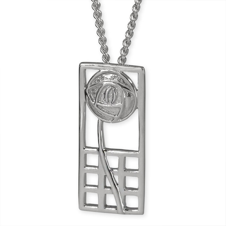 "Charles Rennie Mackintosh Necklace ""Margaret"". Sterling Silver. Tarnish Resistant. Cairn 740"