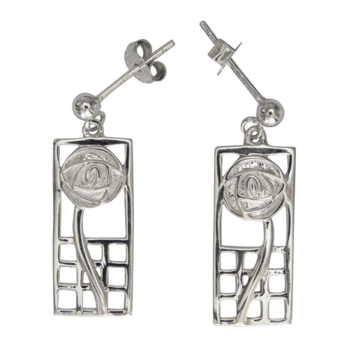 """Margaret"" silver earrings. Charles Rennie Mackintosh. Cairn 742"