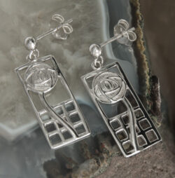 "Cairn 742 Silver Rennie Mackintosh Earrings - ""Margaret"". Tarnish Resistant. British Made. Rennie Mackintosh Jewellery."