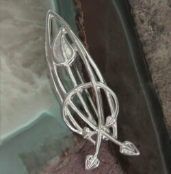 "Cairn 751 Large Silver Rennie Mackintosh Brooch - ""Flourish"". Tarnish Resistant. British Made. Rennie Mackintosh Jewellery."