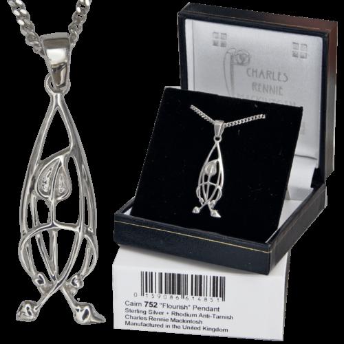 "Cairn 752 Delicate Silver Rennie Mackintosh Pendant - ""Flourish"". Tarnish Resistant 4"