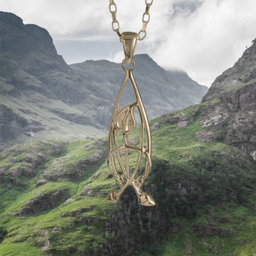 """Delicate 9ct Gold Charles Rennie Mackintosh Necklace """"Flourish"""" Cairn 752G"""