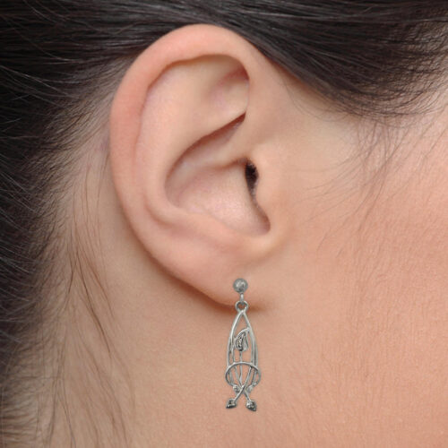 "Delicate Charles Rennie Mackintosh Earrings ""Flourish"". Sterling Silver. Tarnish Resistant. Cairn 754"