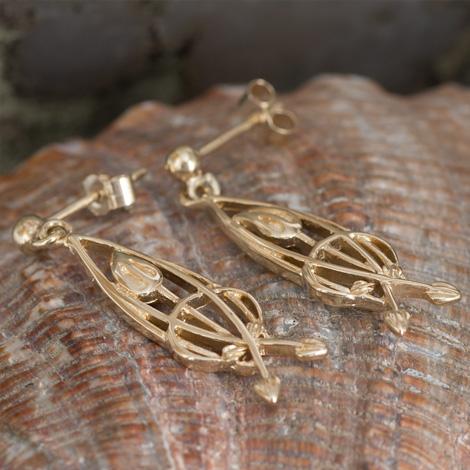 "Cairn 754G Delicate Gold Rennie Mackintosh Earrings - ""Flourish"" British Made. Rennie Mackintosh Jewellery."
