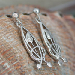 "Cairn 754 Delicate Silver Rennie Mackintosh Earrings - ""Flourish"". Tarnish Resistant. British Made. Rennie Mackintosh Jewellery."