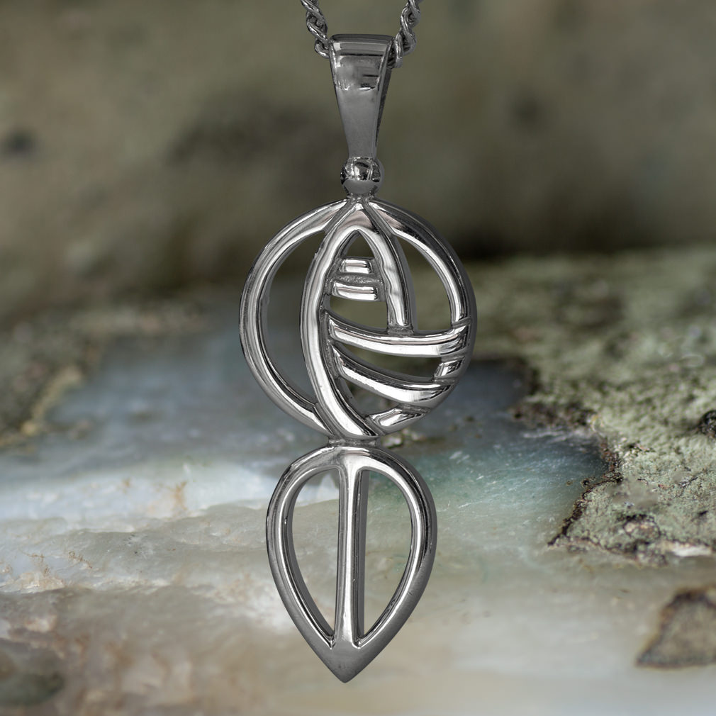 "Sterling Silver Charles Silver Rennie Mackintosh Pendant ""Art School"". Tarnish Resistant. Cairn 762"
