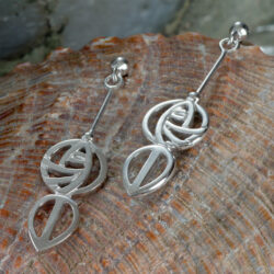 "Cairn 764 Silver Rennie Mackintosh Earrings - ""Art School"". Tarnish Resistant. British Made. Rennie Mackintosh Jewellery."