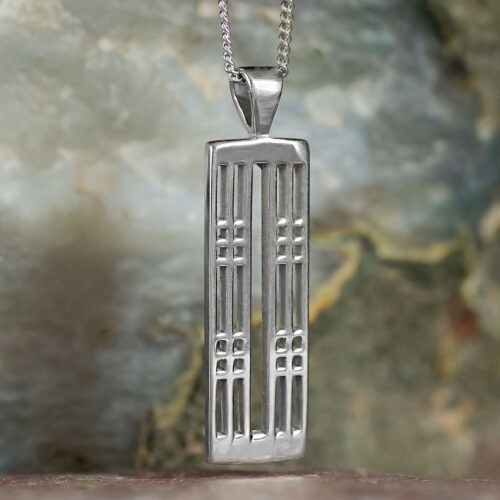 "Sterling Silver Charles Rennie Mackintosh Pendant ""Hillhead"". Tarnish Resistant. Cairn 772"