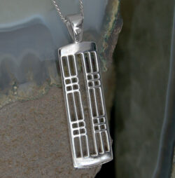 "Cairn 772 Silver Rennie Mackintosh Pendant - ""Hillhead"". Tarnish Resistant. British Made. Rennie Mackintosh Jewellery."